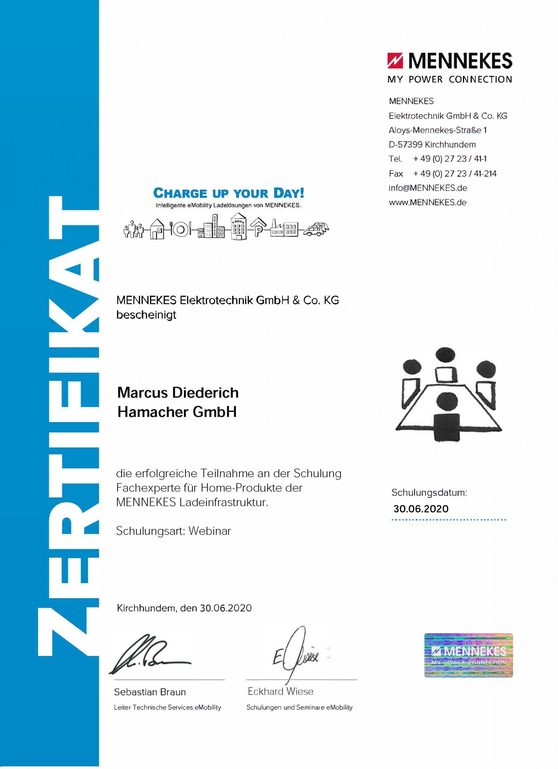 Zertifikat Home-Produkte Diederich