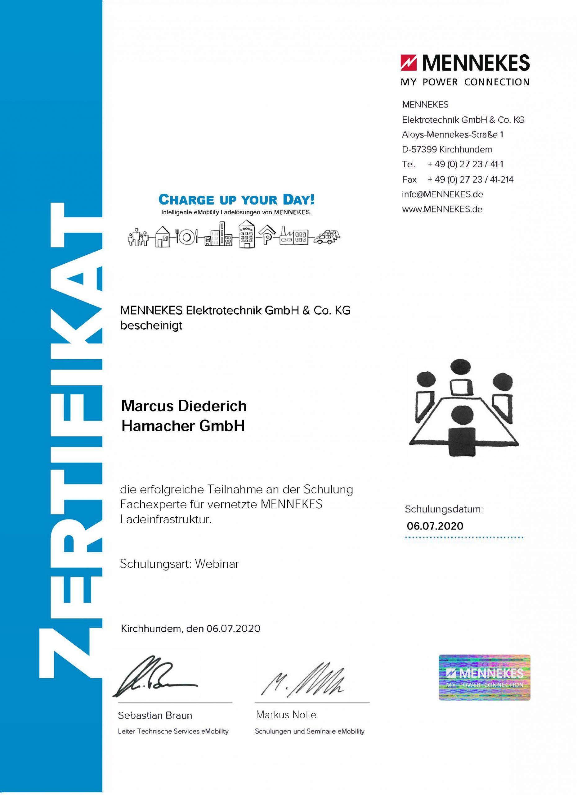 Zertifikat Vernetzte Ladeinfrastruktur Diederich