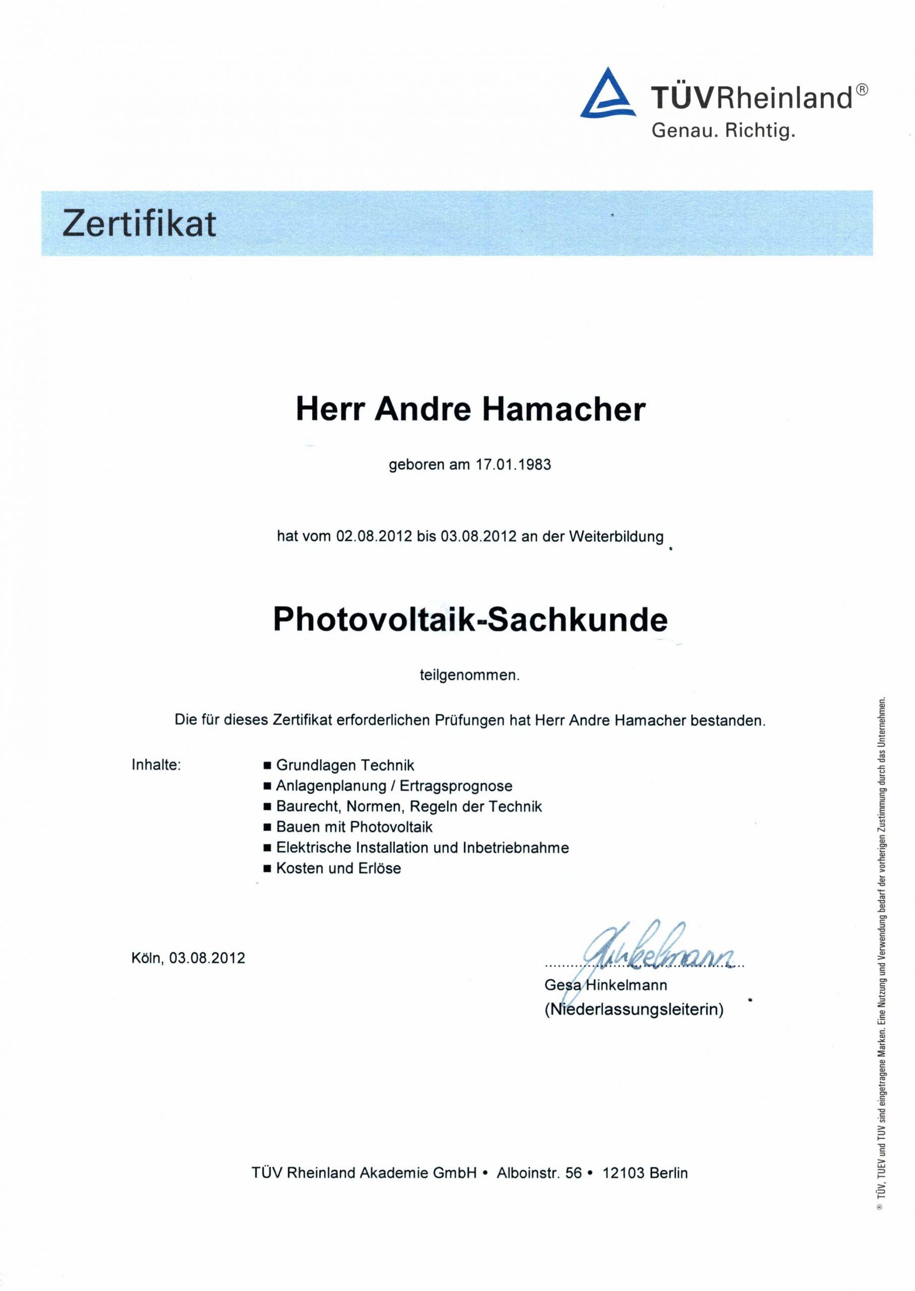 Zertifikat Photovoltaik-Sachkunde