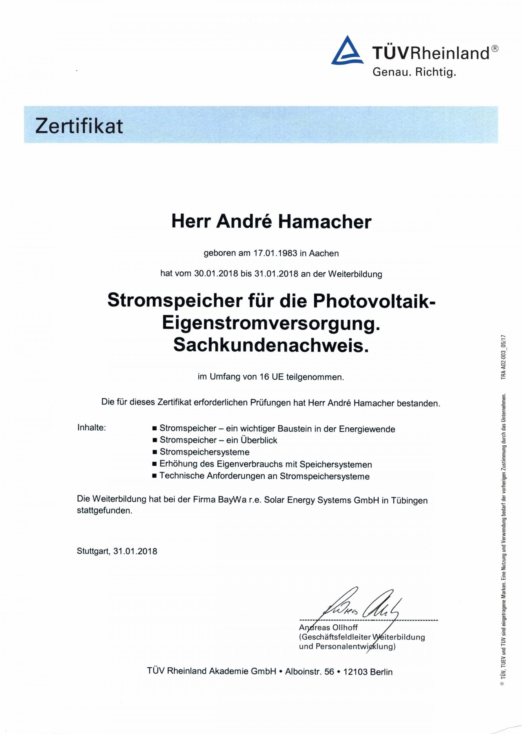 Zertifikat Stromspeicher für die Photovoltaik-Eigenstromversorgung. Sachkundenachweis.